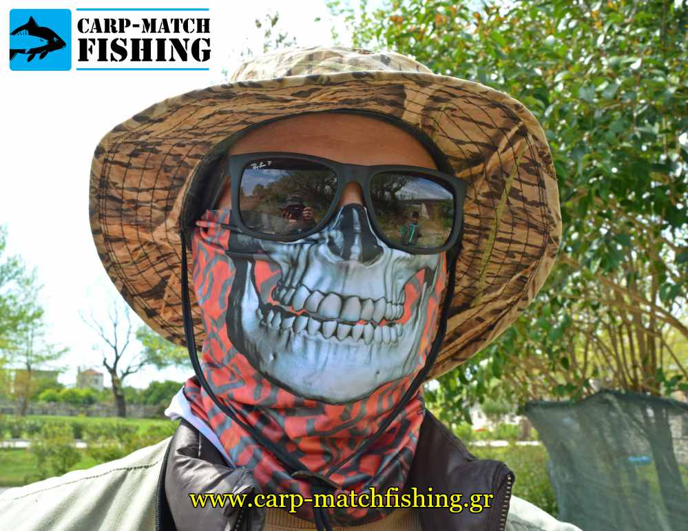 fire red skull bandana tube uv protection alpine thermal carpmatchfishing